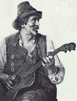 Engraving of a guitarist