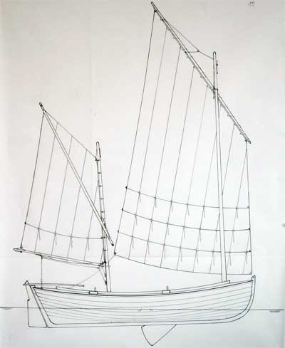 """Drawing for Nomans Land Boat """"Far and Away"""""""