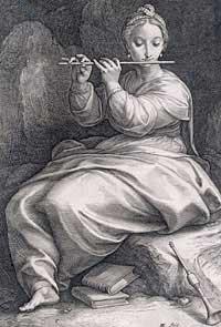 Hendrik Goltzius, 'Euterpe the genial reeds and flute honor...'(1592)