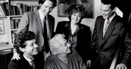 Front: Michael Barrett, Leonard Bernstein, Steven Blier; Rear:Baritone William Sharp, Soprano Judy Kaye; preparing 'Arias and Barcarolles' back in the day